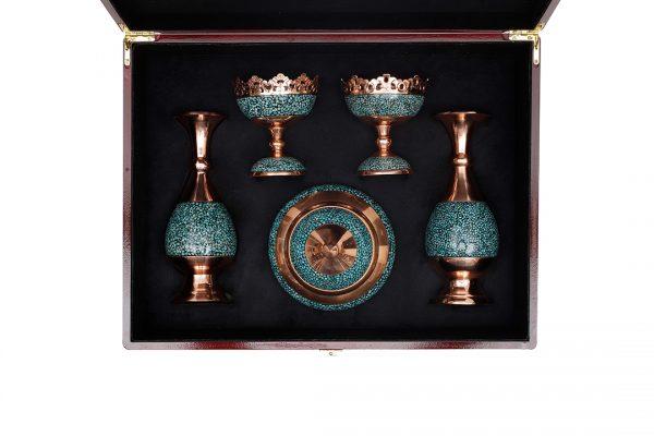 بسته گلدان و آجیل خوری و قندان فیروزه کوبی (231)
